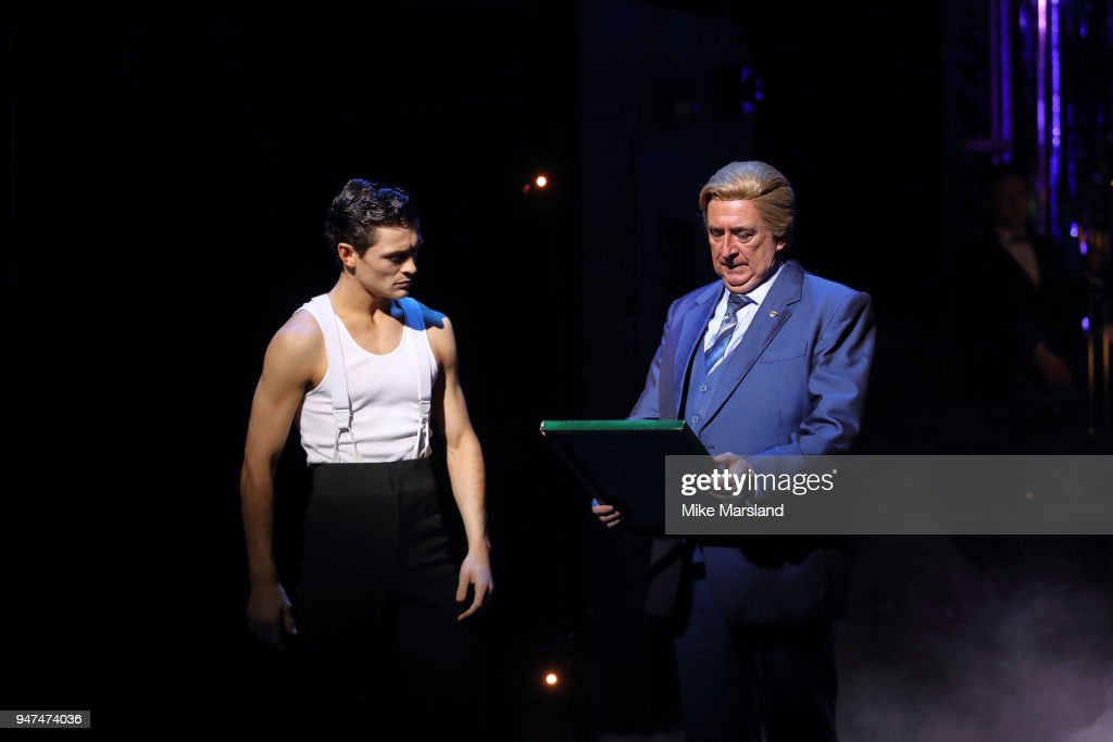 Justin-Lee Jones and Gerard Horan during a photocall for 'Strictly Ballroom The Musical' at Piccadilly Theatre on April 17, 2018 in London, England.