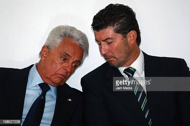 Justino Compean president of FEMEXFUT and Mexican coach Jose Manuel de la Torre during the presentation of the technical committee of Mexican...