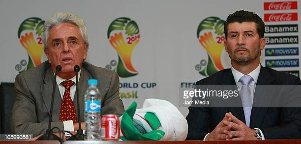 Justino Compean president of FEMEXFUT and Mexican head coach Jose Manuel de la Torre during his presentation for the tecnichal direction of Mexican...