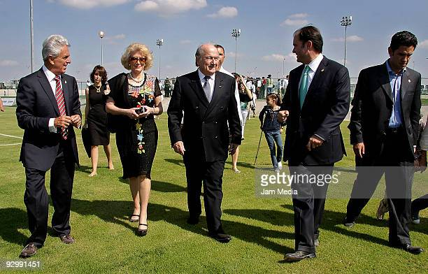 Justino Compean president of FEMEXFUT Joseph Blatter president of FIFA and Alejandro Irragorri president of Santos during the inauguration of Santos...