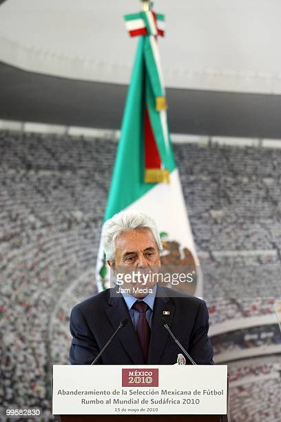 Justino Compean, president of FEMEXFUT, speaks during the flag raising ceremony of the Mexico National Soccer Team at the Mexican Soccer Federation...