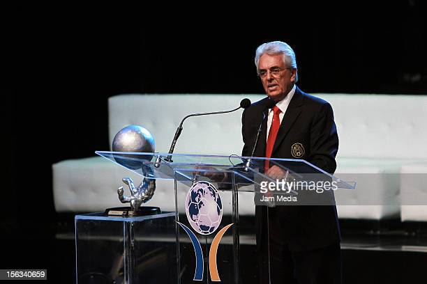 Justino Compean president of FEMEXFUT talks during the Second Investiture Ceremony for the Second Hall of Fame National and International Soccer at...