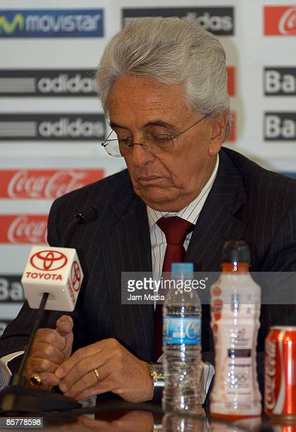 Justino Compean President of FEMEXFUT´s during during press conference to annouce Sweden head coach Sven Goran Eriksson was fired of the technical...