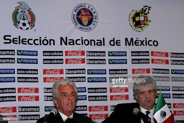 Justino Compean President of Mexican Soccer Federation and Angel Maria Villar of Spanish Royal Soccer Federation during a press conference to sign an...