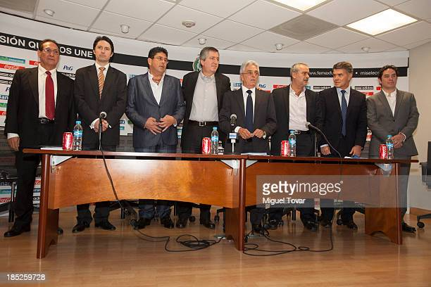 Justino Compean president of mexican soccer federation attends a press conference with presidents of mexican soccer teams where announced Miguel...