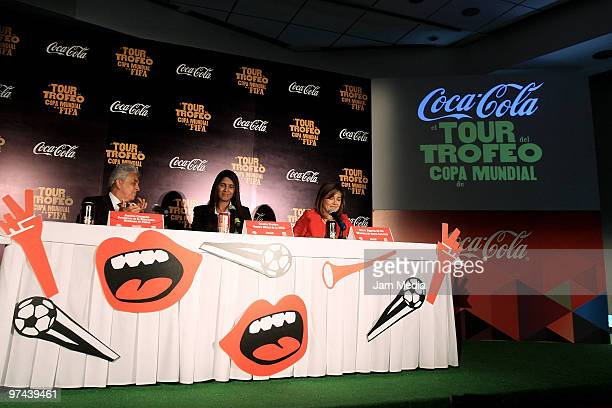 Justino Compean President of Mexican Soccer Federation Renata Pereira and Maria Eugenia del Rio Director of CocaCola Mexico uring the opening of the...