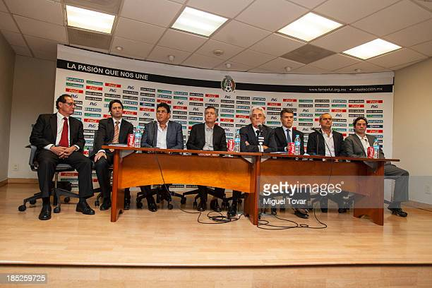 Justino Compean president of mexican soccer federation talks during a press conference where announced Miguel Herrera as the new Coach Mexico...