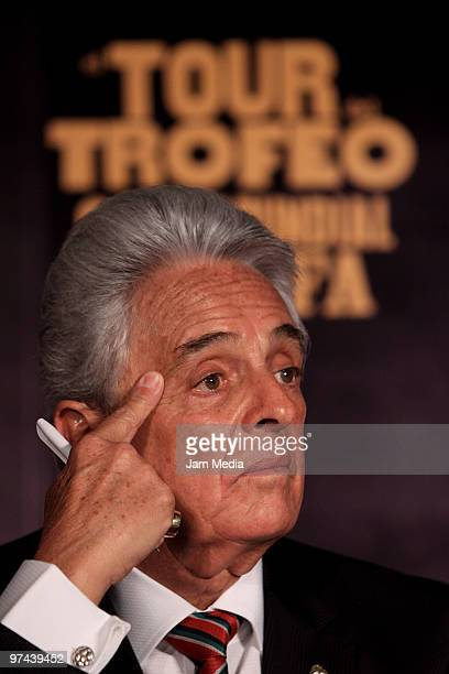 Justino Compean president of the Mexican Soccer Federation during the opening of the Fifa World Cup Trophy exhibition at CocaCola headquarters as...