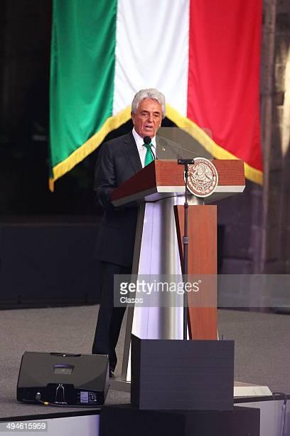 Justino Compean speaks during a Mexico National Team Farewell Ceremony at Palacio Nacional de la Ciudad de México on May 27 2014 in Mexico City Mexico