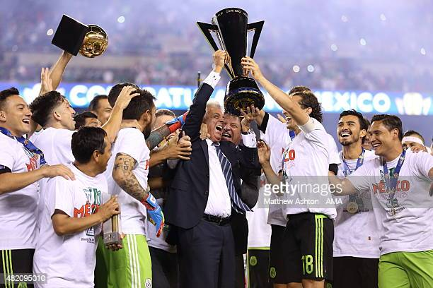 Justino Compean the President of the Mexico Football Federation celebrates with the The CONCACAF Gold Cup Trophy after the 2015 CONCACAF Gold Cup...