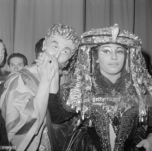Justino Diaz kisses the hand of Leontyne Price, Backstage, following the opening night ovation they received playing the title roles in Samuel...