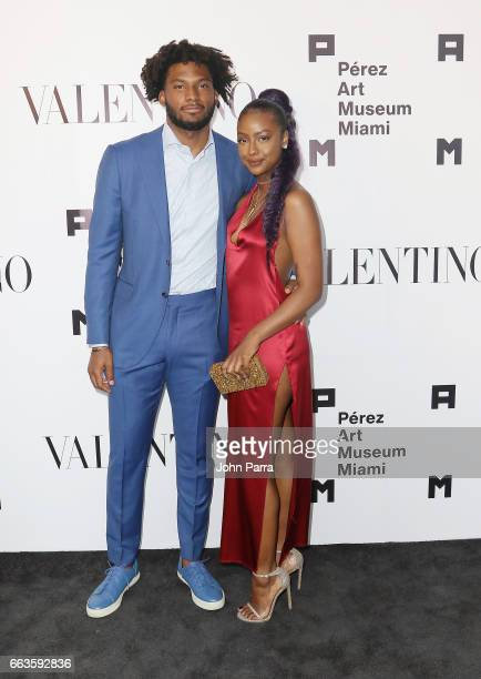 Justise Winslow and Justine Skye at PAMM Art Of The Party Presented By Valentino at Perez Art Museum Miami on April 1 2017 in Miami Florida