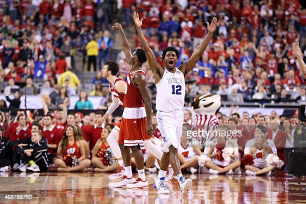 Justise Winslow of the Duke Blue Devils celebrates after defeating the Wisconsin Badgers during the NCAA Men's Final Four National Championship at...