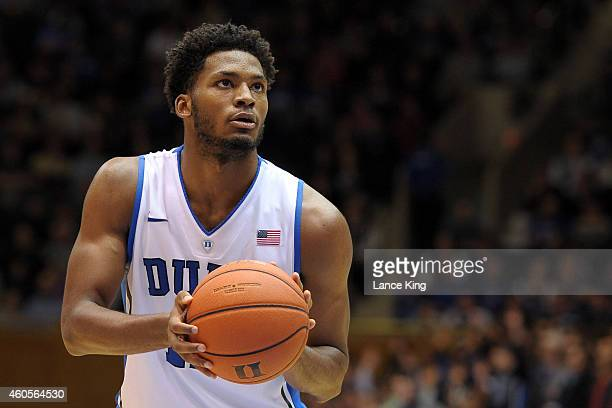 Justise Winslow of the Duke Blue Devils concentrates at the free throw line against the Elon Phoenix during their game at Cameron Indoor Stadium on...