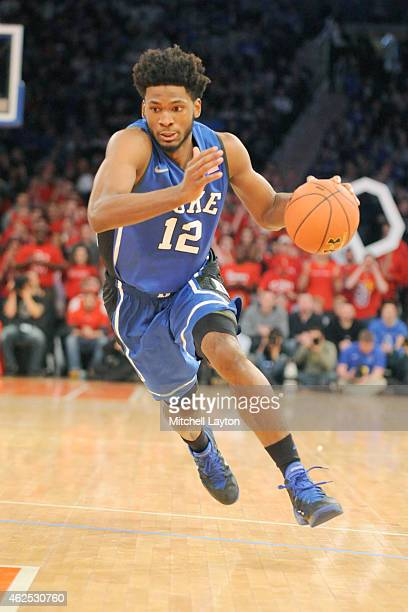Justise Winslow of the Duke Blue Devils dribbles the ball during a college basketball game against the St John's Red Storm at Madison Square Garden...