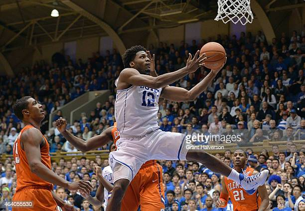 Justise Winslow of the Duke Blue Devils drives through the Clemson Tigers defense during their game at Cameron Indoor Stadium on February 21 2015 in...