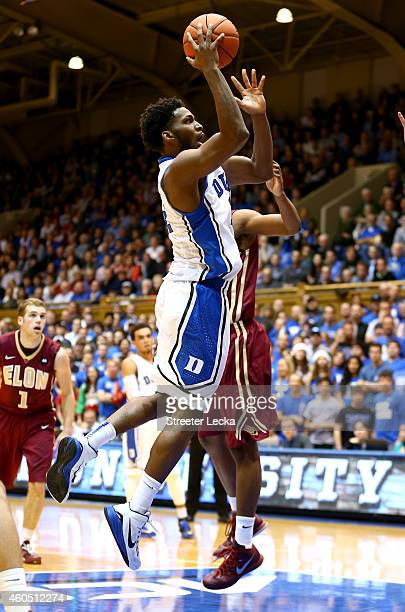 Justise Winslow of the Duke Blue Devils drives to the basket against the Elon Phoenix during their game at Cameron Indoor Stadium on December 15 2014...