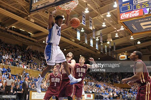 Justise Winslow of the Duke Blue Devils dunks the ball during their game against the Elon Phoenix at Cameron Indoor Stadium on December 15 2014 in...