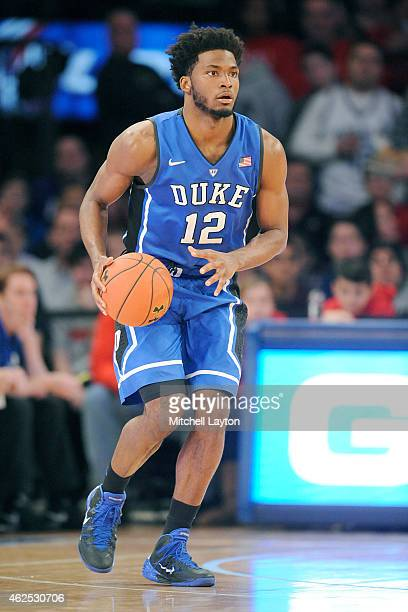 Justise Winslow of the Duke Blue Devils looks to pass the ball during a college basketball game against the St John's Red Storm at Madison Square...
