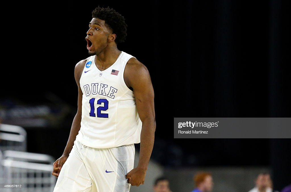 Justise Winslow #12 of the Duke Blue Devils reacts against the Gonzaga Bulldogs during the South Regional Final of the 2015 NCAA Men's Basketball Tournament at NRG Stadium on March 29, 2015 in Houston, Texas.