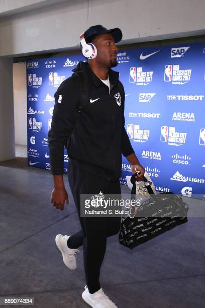 Justise Winslow of the Miami Heat arrives before the game against the Brooklyn Nets as part of the NBA Mexico Games 2017 on December 9 2017 at the...