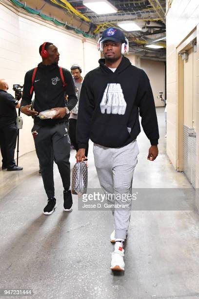 Justise Winslow of the Miami Heat arrives to the arena prior to Game Two of Round One of the 2018 NBA Playoffs against the Philadelphia 76ers on...