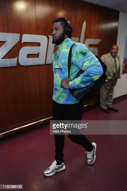Justise Winslow of the Miami Heat arrives to the arena prior to the game against the Washington Wizards on March 23 2019 at Capital One Arena in...