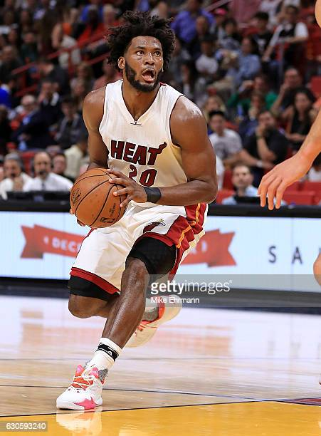 Justise Winslow of the Miami Heat brings the ball up during a game against the Oklahoma City Thunder at American Airlines Arena on December 27 2016...