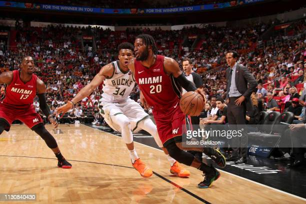 Justise Winslow of the Miami Heat drives to the basket against the Milwaukee Bucks on March 15 2019 at American Airlines Arena in Miami Florida NOTE...
