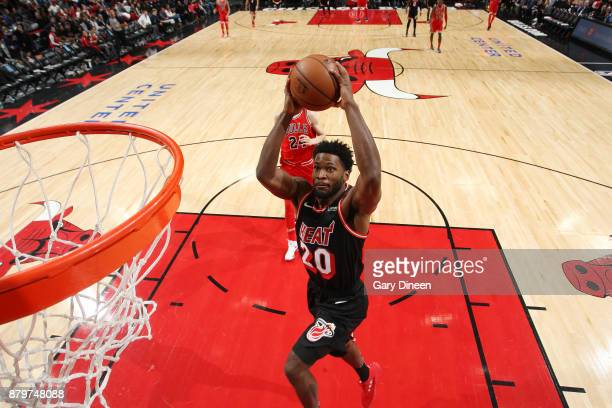Justise Winslow of the Miami Heat drives to the basket against the Chicago Bulls on November 26 2017 at the United Center in Chicago Illinois NOTE TO...