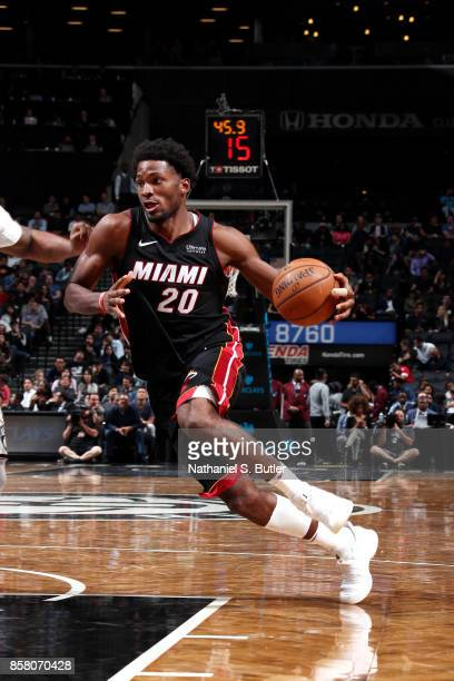Justise Winslow of the Miami Heat drives to the basket during the game against the Brooklyn Nets during a preseason game on October 5 2017 at...