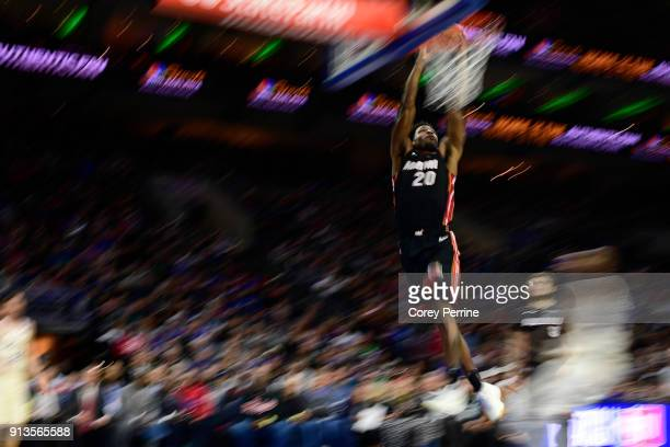 Justise Winslow of the Miami Heat dunks against the Philadelphia 76ers during the fourth quarter at the Wells Fargo Center on February 2 2018 in...