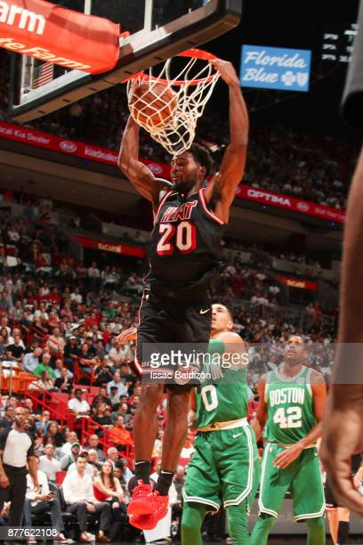 Justise Winslow of the Miami Heat dunks the ball against the Boston Celtics on November 22 2017 at AmericanAirlines Arena in Miami Florida NOTE TO...