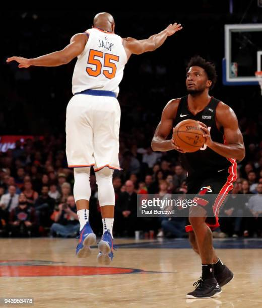 Justise Winslow of the Miami Heat fakes out Jarrett Jack of the New York Knicks who leaped for the faked shot leaving himself out of position to...