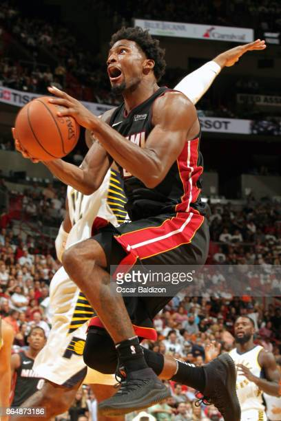 Justise Winslow of the Miami Heat goes for a lay up against the Indiana Pacers on October 21 2017 at American Airlines Arena in Miami Florida NOTE TO...