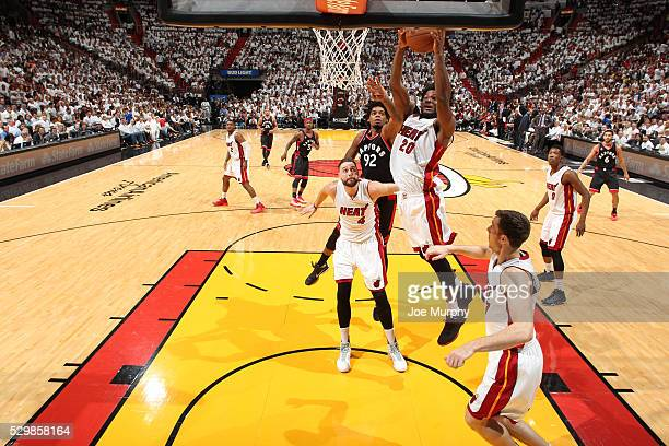 Justise Winslow of the Miami Heat grabs the rebound against the Toronto Raptors in Game Four of the Eastern Conference Semifinals during the 2016 NBA...