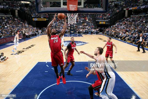 Justise Winslow of the Miami Heat grabs the rebound against the Memphis Grizzlies on December 11 2017 at FedExForum in Memphis Tennessee NOTE TO USER...
