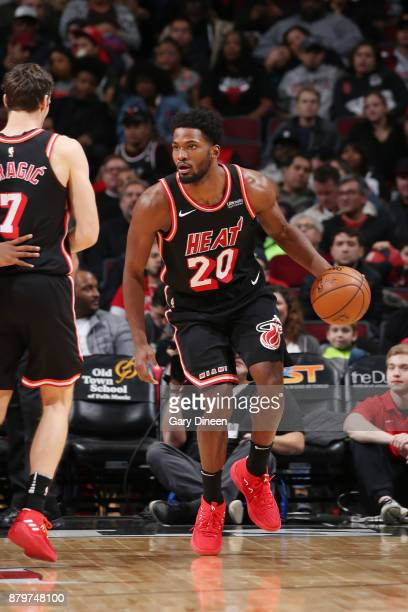 Justise Winslow of the Miami Heat handles the ball against the Chicago Bulls on November 26 2017 at the United Center in Chicago Illinois NOTE TO...
