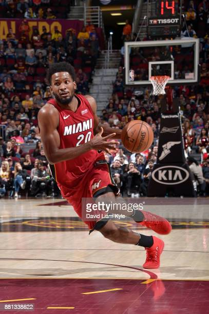 Justise Winslow of the Miami Heat handles the ball against the Cleveland Cavaliers on November 28 2017 at Quicken Loans Arena in Cleveland Ohio NOTE...