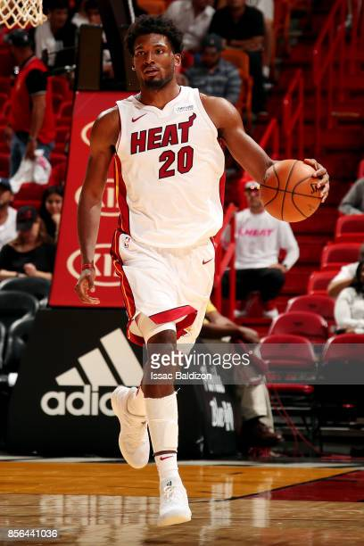 Justise Winslow of the Miami Heat handles the ball during the preseason game against the Atlanta Hawks on October 1 2017 at American Airlines Arena...
