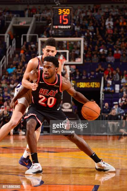 Justise Winslow of the Miami Heat handles the ball during the game against the Phoenix Suns on November 8 2017 at Talking Stick Resort Arena in...
