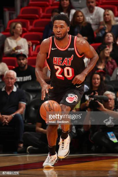 Justise Winslow of the Miami Heat handles the ball during the game against the Washington Wizards at the American Airlines Arena on November 15 2017...
