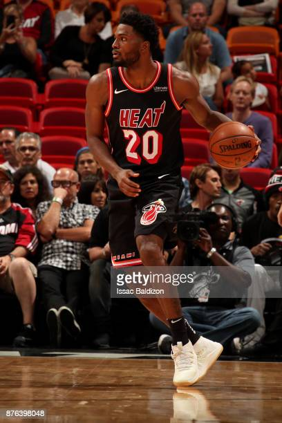Justise Winslow of the Miami Heat handles the ball during the game against the Indiana Pacers on November 19 2017 at American Airlines Arena in Miami...