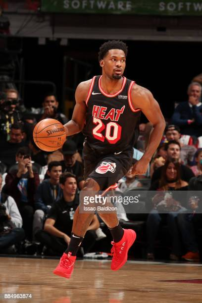 Justise Winslow of the Miami Heat handles the ball during the game against the Golden State Warriors on December 3 2017 in Miami Florida NOTE TO USER...