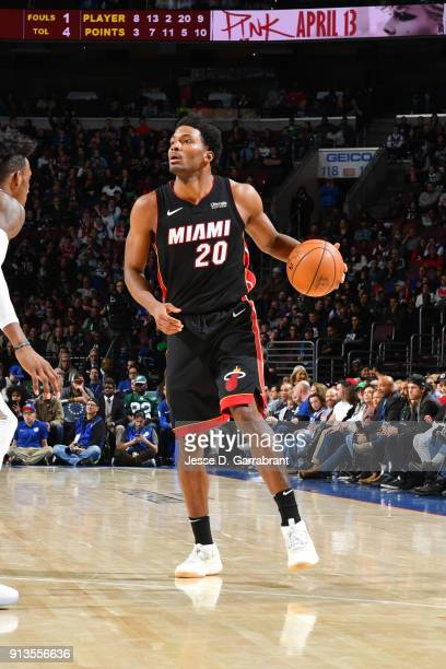 Justise Winslow of the Miami Heat handles the ball during the game against the Philadelphia 76ers on February 2 2018 in Philadelphia Pennsylvania...