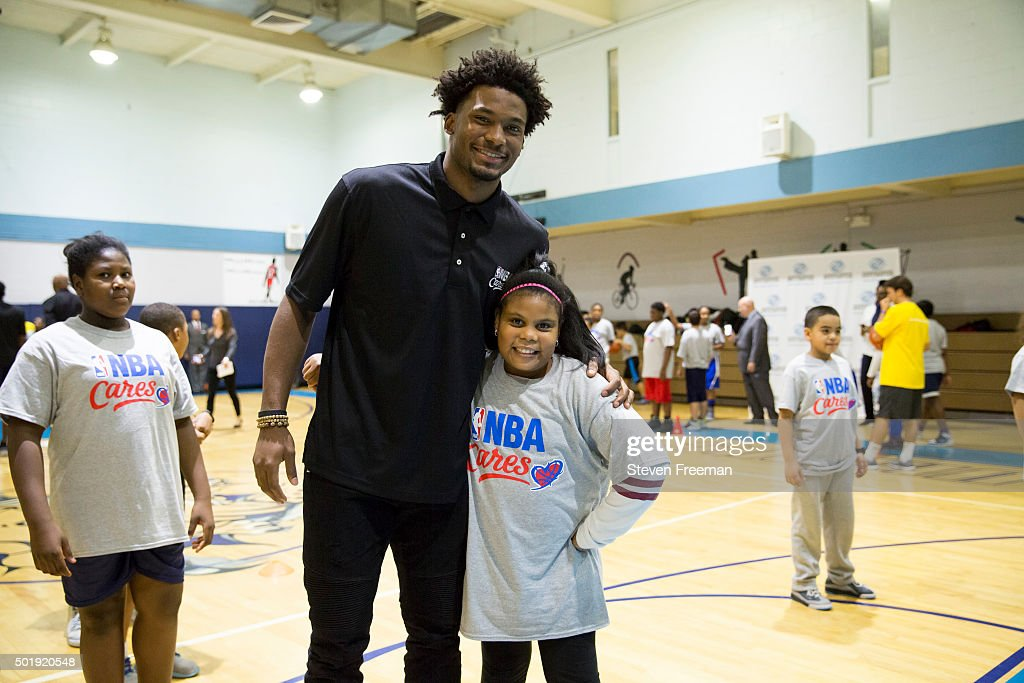 Justise Winslow #20 of the Miami Heat host an NBA Cares clinic for Good Morning America at the Madison Square Boys and Girls Club on December 12, 2015 in Bronx, New York.
