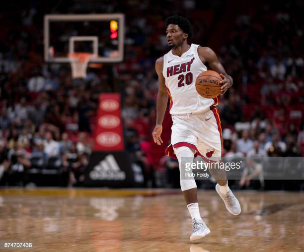 Justise Winslow of the Miami Heat in action during the game against the Atlanta Hawks at the American Airlines Arena on October 23 2017 in Miami...