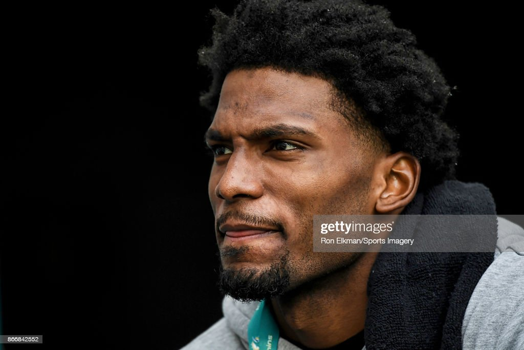 Justise Winslow of the Miami Heat looks on during a NFL game between the Miami Dolphins and the New York Jets at Hard Rock Stadium on October 22, 2017 in Miami Gardens, Florida.