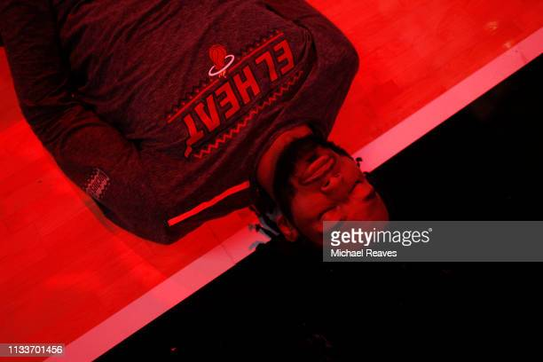 Justise Winslow of the Miami Heat looks on prior to the game against the Atlanta Hawks at American Airlines Arena on March 04 2019 in Miami Florida...