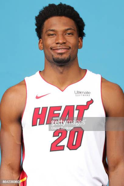 Justise Winslow of the Miami Heat poses for a head shot at American Airlines Arena in Miami Florida on September 25 2017 NOTE TO USER User expressly...